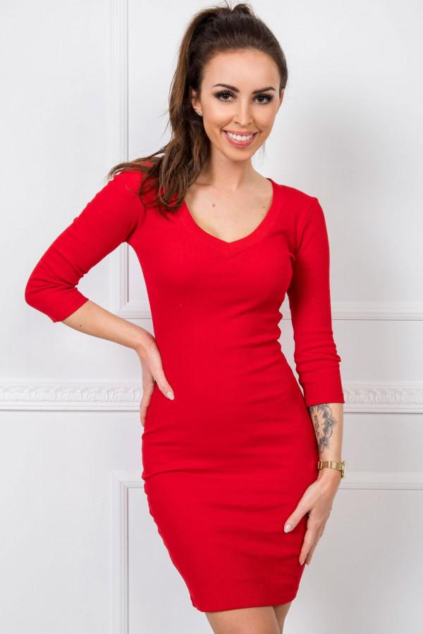 Czerwona dopasowana sukienka V-Neck Paisley