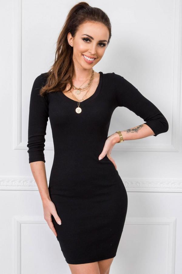 Czarna dopasowana sukienka V-Neck Paisley