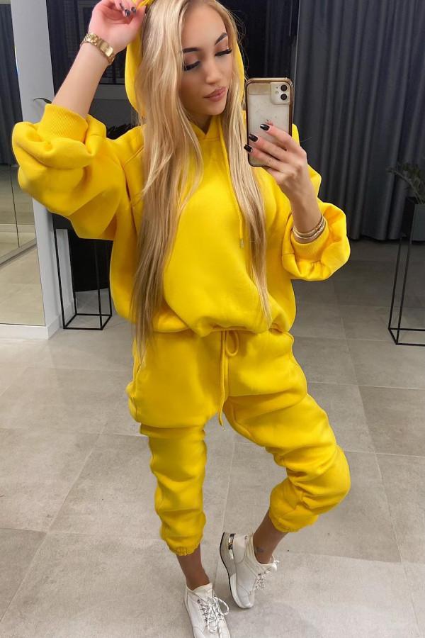 Żółty komplet dresowy z kapturem Amalia