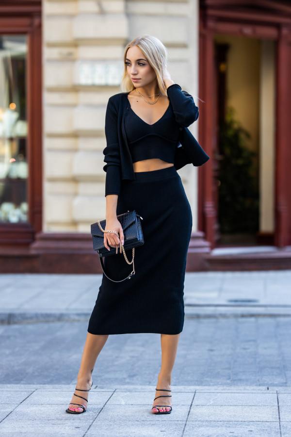 Czarny trzyczęściowy komplet z spódnicą Montse