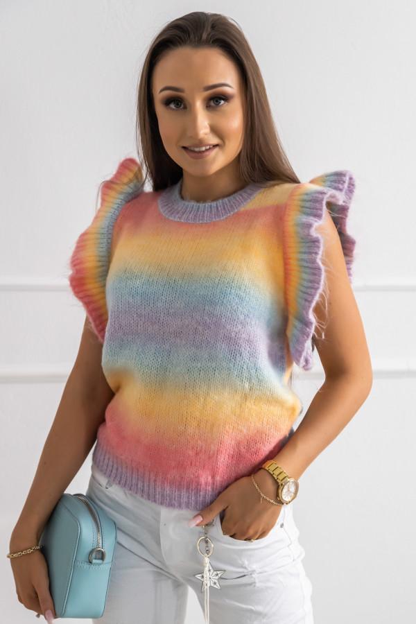 Kolorowy sweter z falbankami bez rękawów Gessa