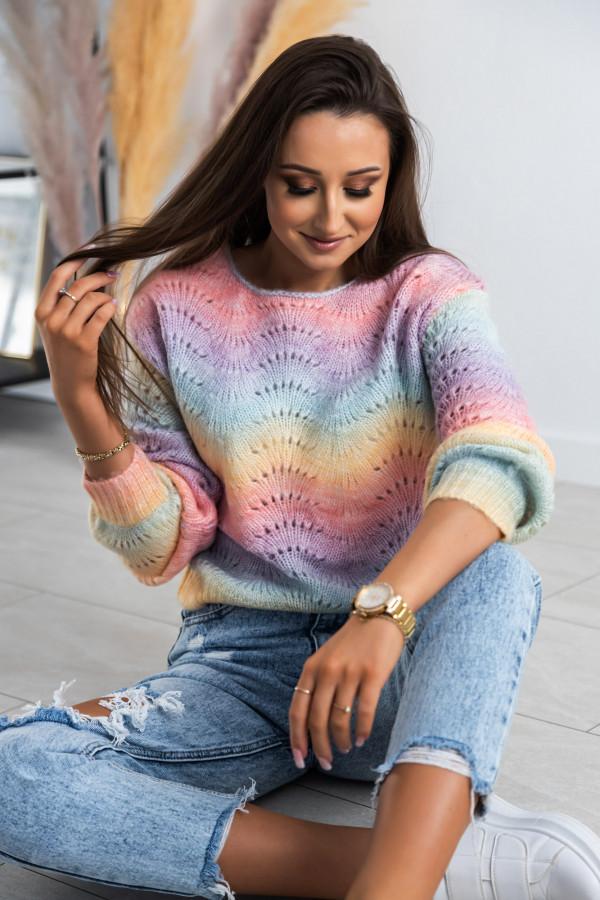 Kolorowy ażurowy sweter damski Gessa