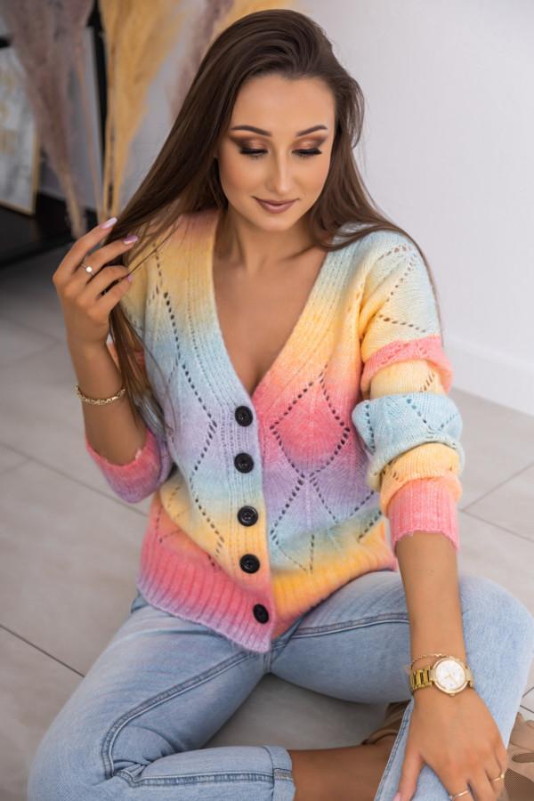 Kolorowy sweter damski rozpinany Gessa
