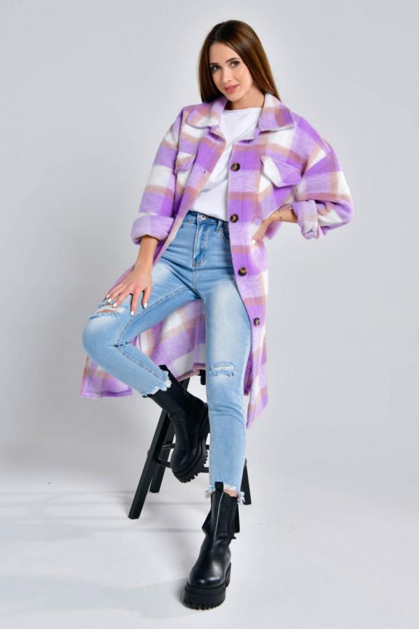 Fioletowa długa koszula płaszcz Klaren