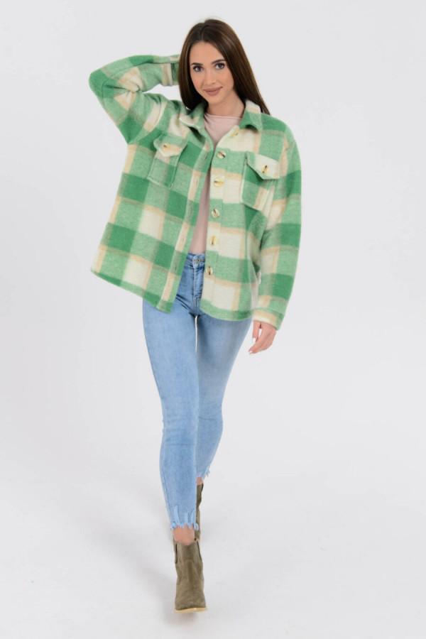 Zielona koszula płaszczyk w kratkę Paront