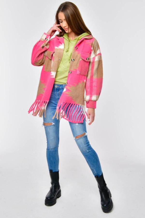 Różowo-brązowa koszula z frędzlami Bestie