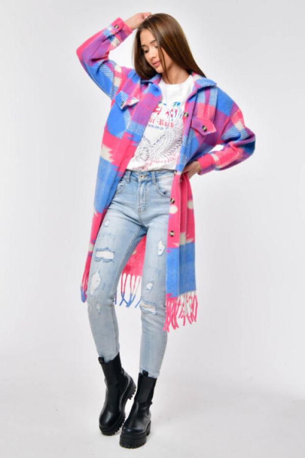 Różowo-niebieska długa koszula płaszczyk Basmon