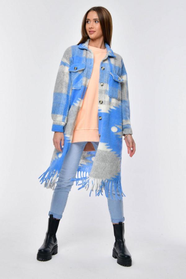 Szaro-niebieska długa koszula płaszczyk Basmon