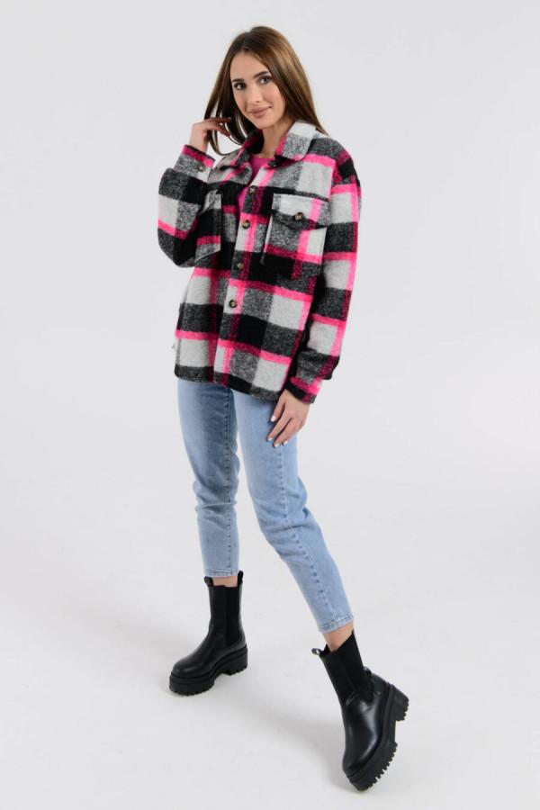 Czarno-różowa koszula z neonowym akcentem Focus