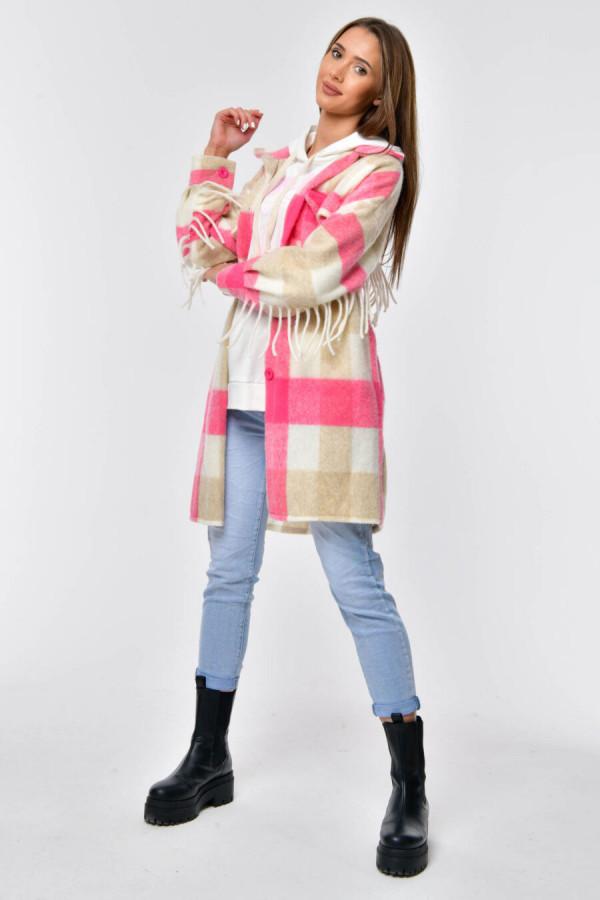 Różowo-beżowa koszula płaszczyk z frędzlami Louise