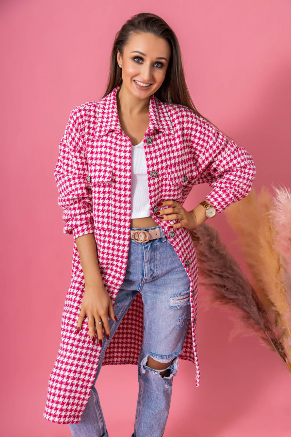 Różowa długa koszula w kratkę Arabela