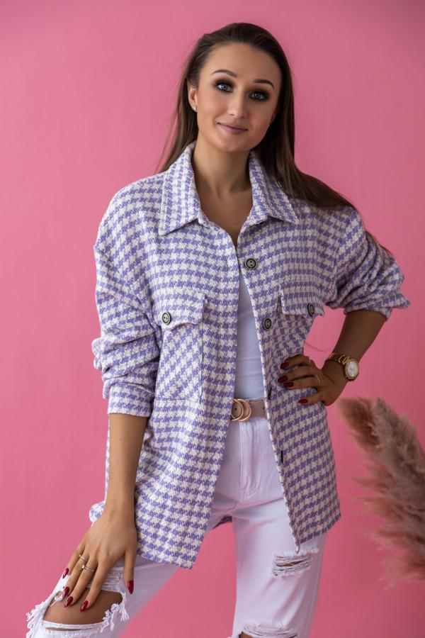 Fioletowa koszula w pepitkę Bella