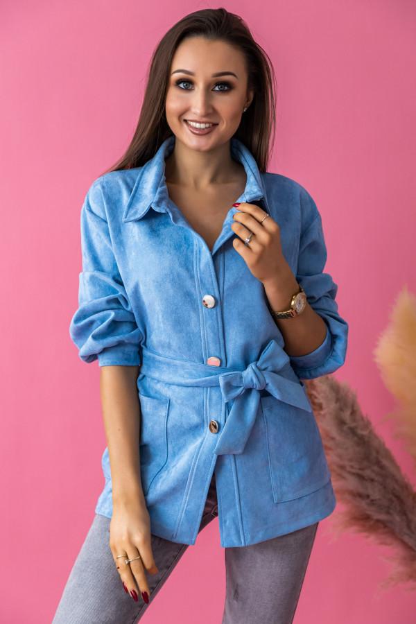 Niebieska zamszowa koszula z wiązaniem Marita