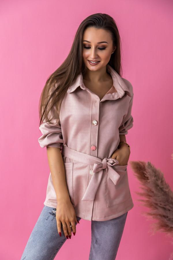 Różowa zamszowa koszula z wiązaniem Marita