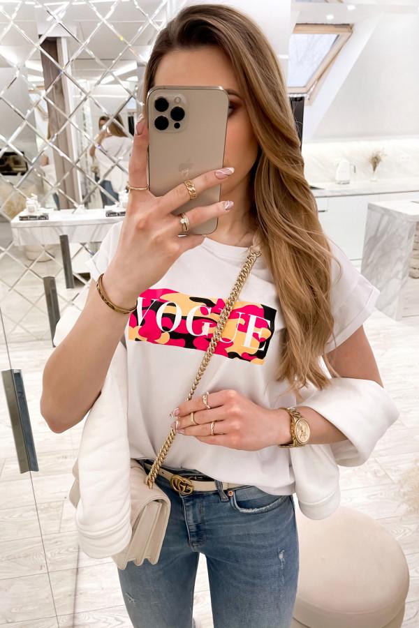Biały t-shirt z nadrukiem Vogue
