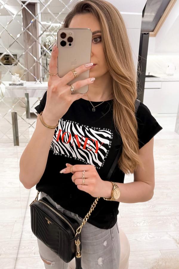 Czarny t-shirt z nadrukiem Honey
