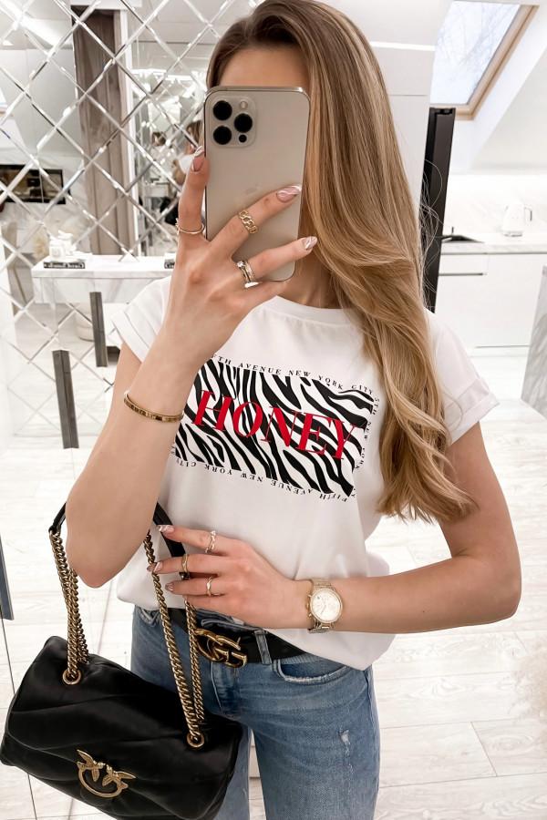 Biały t-shirt z nadrukiem Honey