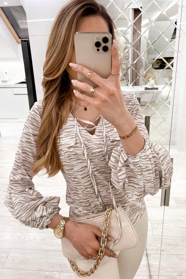 Beżowa bluzka w zeberkę z bufiastymi rękawami Pisces
