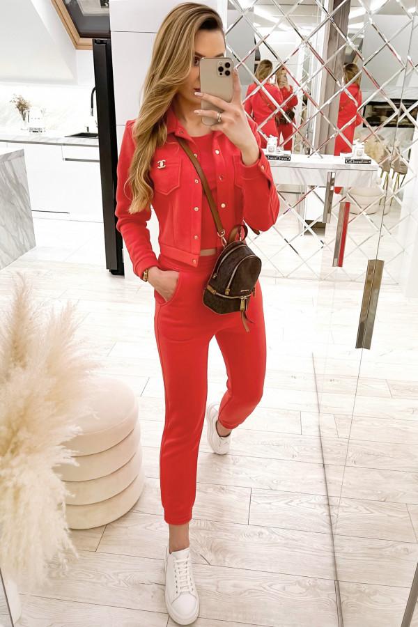 Czerwony trzyczęściowy komplet damski Fansy
