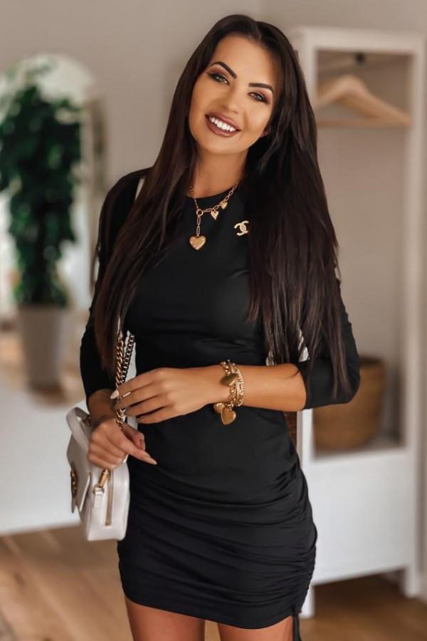 Czarna dopasowana sukienka z wiązaniem Marry
