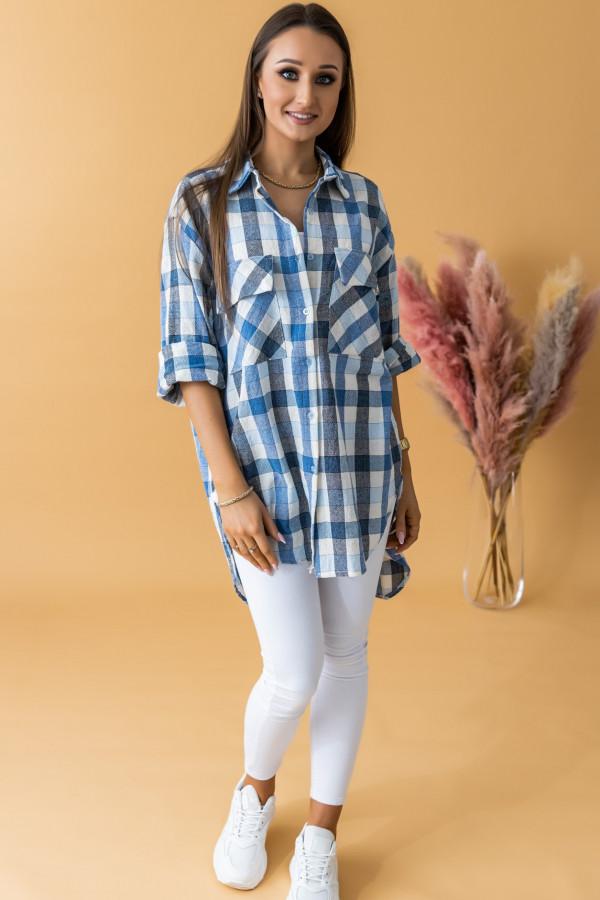 Niebieska długa koszula w kratkę Lana