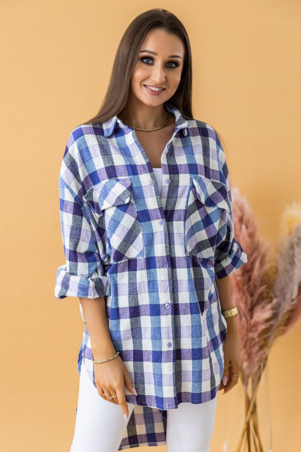 Fioletowa długa koszula w kratkę Lana