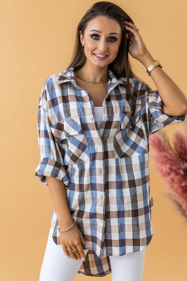 Beżowa długa koszula w kratkę Lana