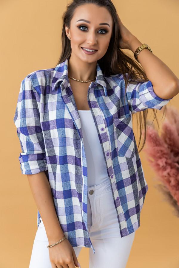 Fioletowa klasyczna koszula w kratkę Lena