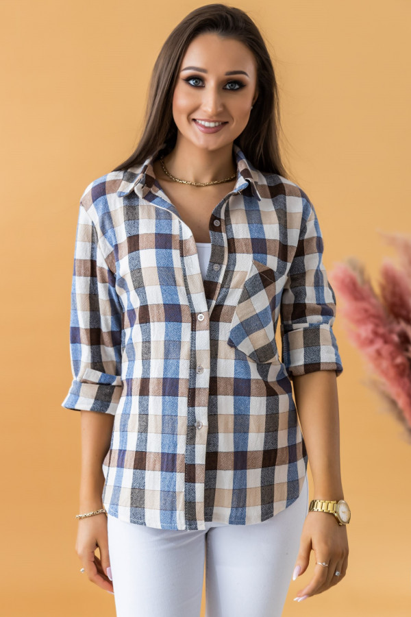 Beżowa klasyczna koszula w kratkę Lena