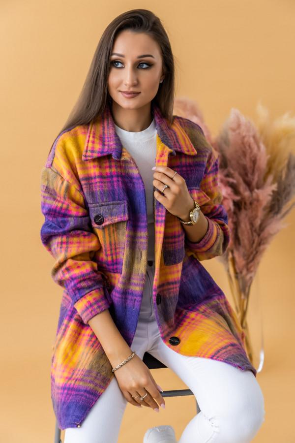 Fioletowo-różowa długa koszula w kartkę Shiny