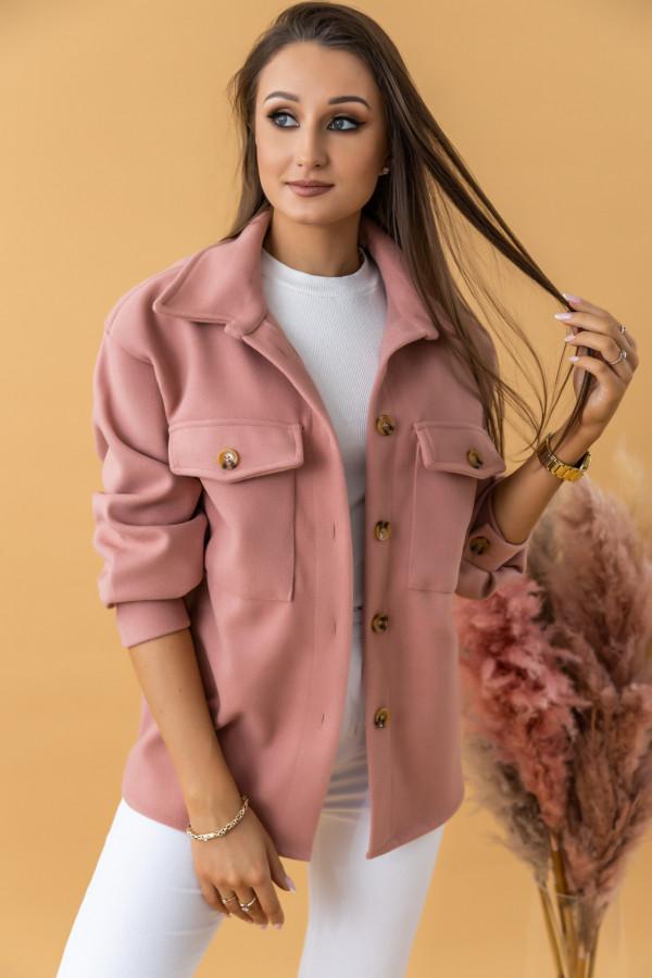 Pastelowo różowa kurtka koszula Samy