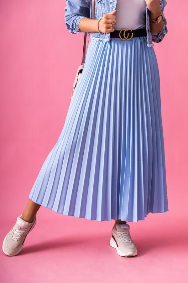 Niebieska plisowana spódnica midi Kendall