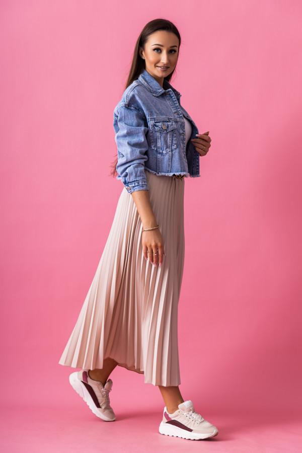 Beżowa plisowana spódnica midi Kendall