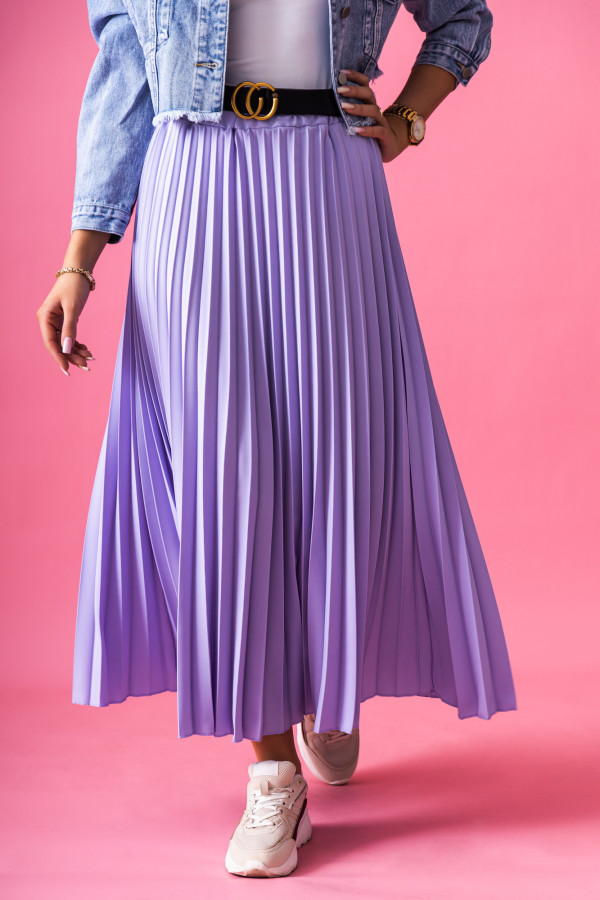 Fioletowa plisowana spódnica midi Kendall