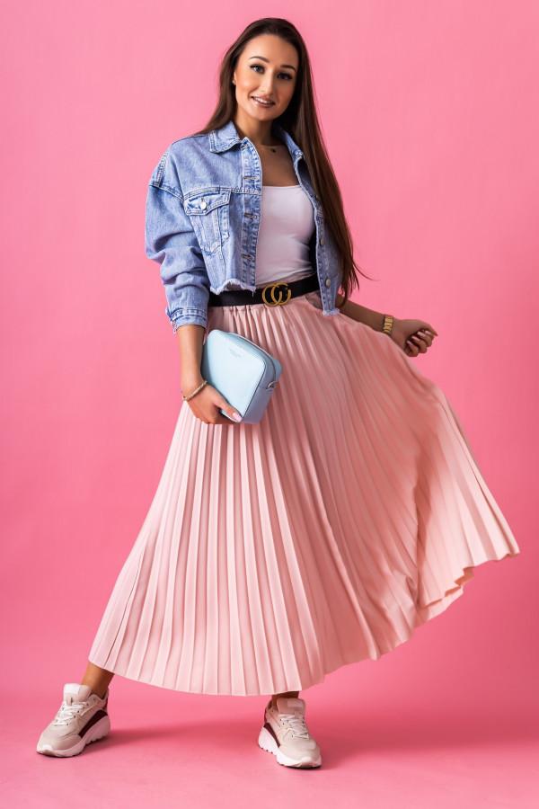 Różowa plisowana spódnica midi Kendall