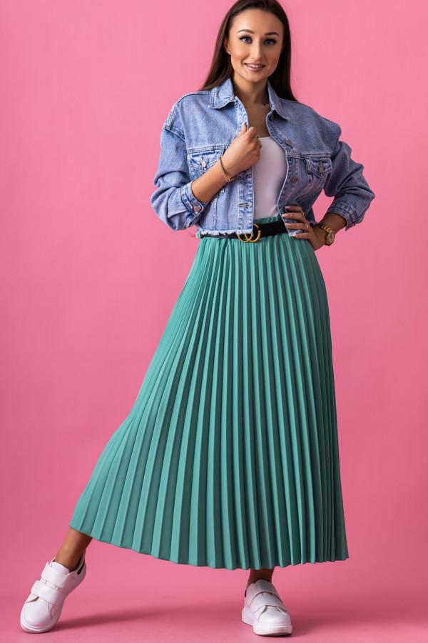 Butelkowo zielona plisowana spódnica midi Kendall