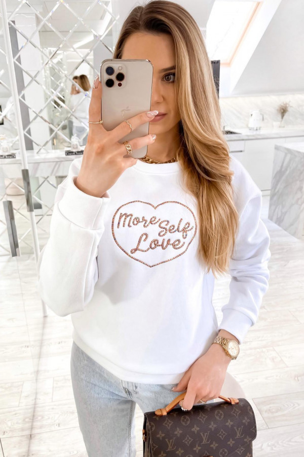 Biała bluza z haftem Self Love