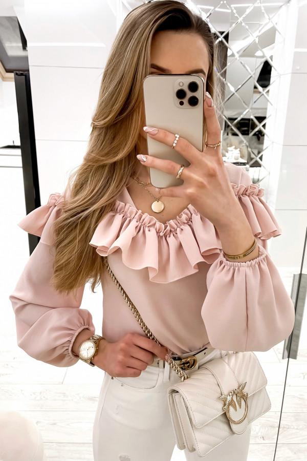 Różowa bluzka hiszpanka z falbankami Noami
