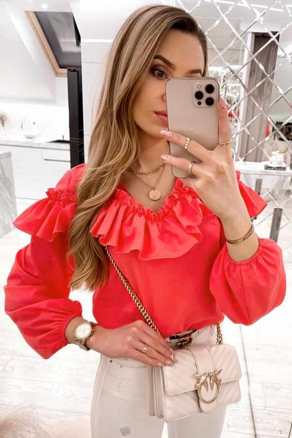 Czerwona bluzka hiszpanka z falbankami Noami