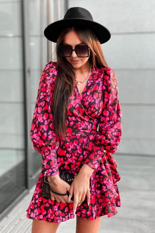 Różowa sukienka rozkloszowana w serca Lovely