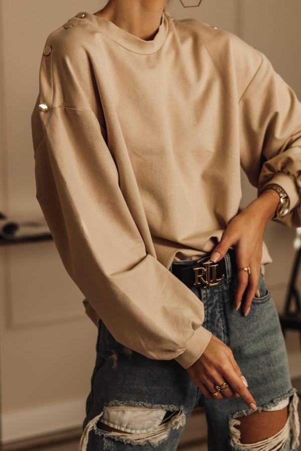 Karmelowa bluza oversize z guzikami Veron