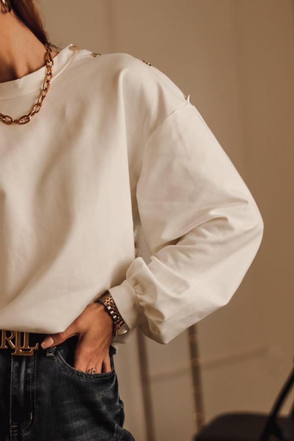 Biała bluza oversize z guzikami Veron