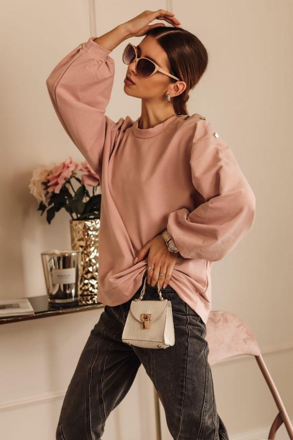 Brudnoróżowa bluza oversize z guzikami Veron
