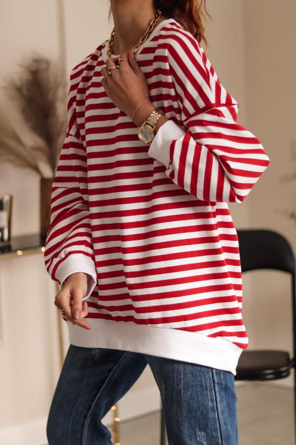 Czerwona bluza oversize w paski Sailor