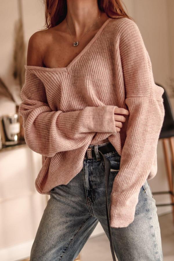 Jasnoróżowy sweter oversize V-Neck Abigail
