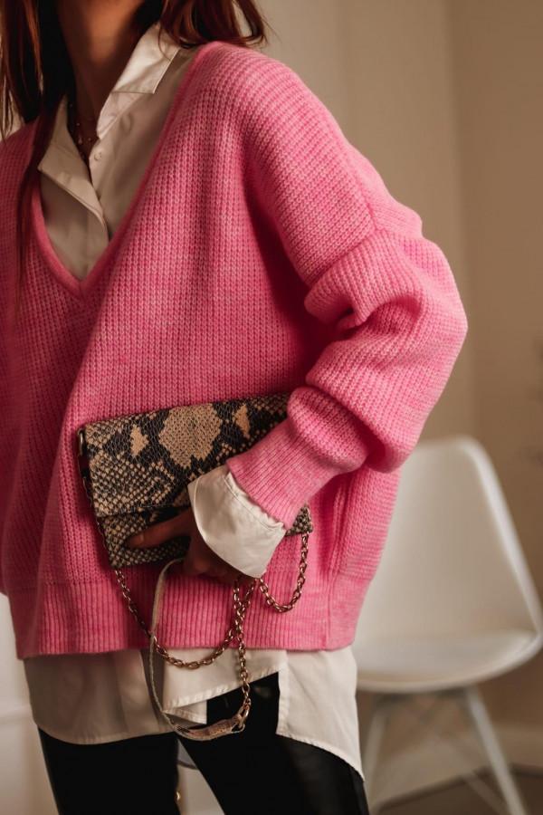 Różowy sweter oversize V-Neck Abigail