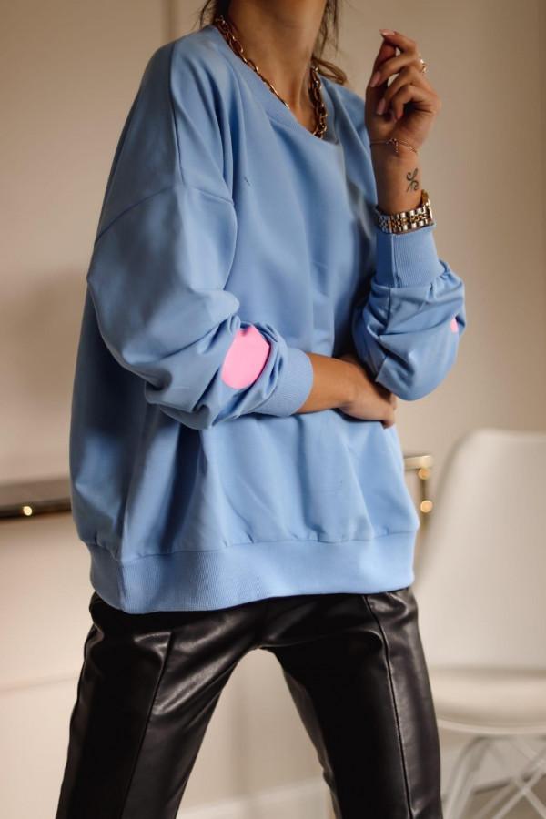 Niebieska bluza oversize z sercem Hearts