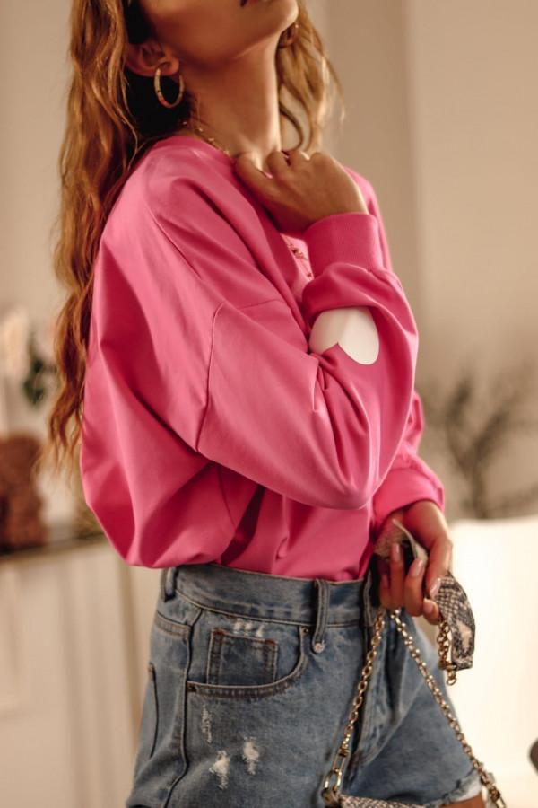 Różowa bluza oversize z sercem Hearts