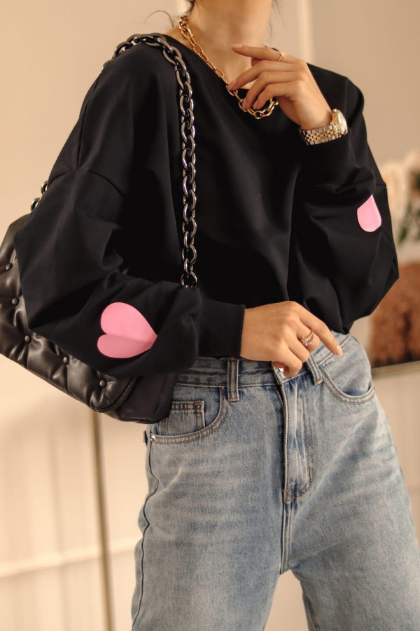 Czarna bluza oversize z sercem Hearts