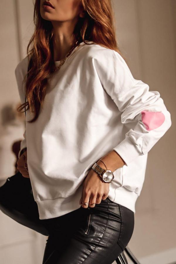 Biała bluza oversize z sercem Hearts